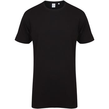 Textiel Heren T-shirts korte mouwen Skinni Fit Dipped Hem Zwart