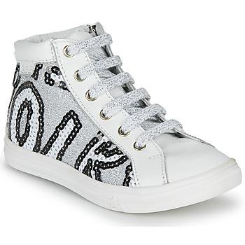 Schoenen Meisjes Hoge sneakers GBB MARTA Wit / Zilver