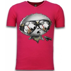 Textiel Heren T-shirts korte mouwen Local Fanatic Stewie Dog Fuschia Rood, Roze
