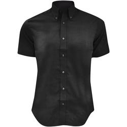 Textiel Heren Overhemden korte mouwen Kustom Kit KK187 Zwart