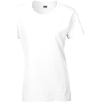 Textiel Dames T-shirts korte mouwen Gildan Missy Fit Wit