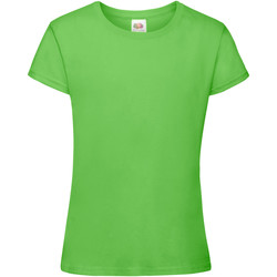 Textiel Meisjes T-shirts korte mouwen Fruit Of The Loom 61017 Lime