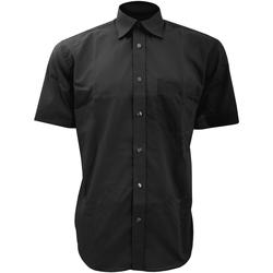 Textiel Heren Overhemden korte mouwen Kustom Kit KK102 Zwart
