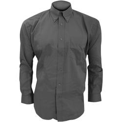 Textiel Heren Overhemden lange mouwen Kustom Kit KK105 Houtskool