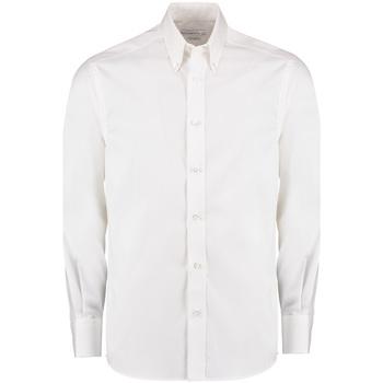 Textiel Heren Overhemden lange mouwen Kustom Kit KK131 Wit