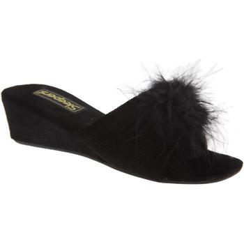 Schoenen Dames Leren slippers Sleepers Rosette Zwart