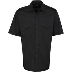 Textiel Heren Overhemden korte mouwen Premier PR212 Zwart