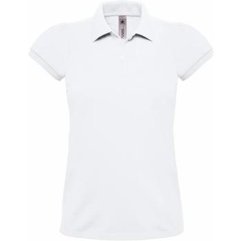 Textiel Dames Polo's korte mouwen B And C Heavymill Wit
