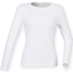 Textiel Dames T-shirts met lange mouwen Skinni Fit SK124 Wit