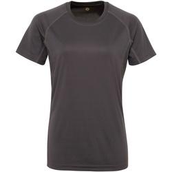 Textiel Dames T-shirts korte mouwen Tridri Panelled Houtskool
