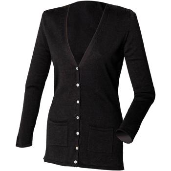 Textiel Dames Vesten / Cardigans Henbury Fine Knit Zwart