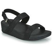 Schoenen Dames Leren slippers FitFlop LOTTIE GLITZY BACKSTRAP SANDAL Zwart