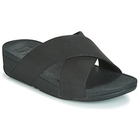 Schoenen Dames Leren slippers FitFlop LULU SHIMMERLUX SLIDES Zwart
